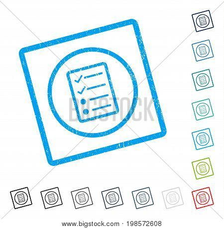 Checklist Page rubber watermark in some color versions.. Vector pictogram symbol inside rounded rectangular frame with grunge design and dust texture. Stamp seal illustration, unclean sticker.