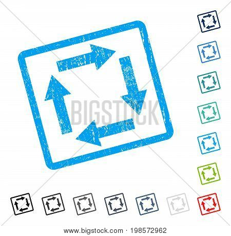 Circulation Arrows rubber watermark in some color versions.. Vector pictogram symbol inside rounded rectangular frame with grunge design and unclean texture. Stamp seal illustration, unclean sign.