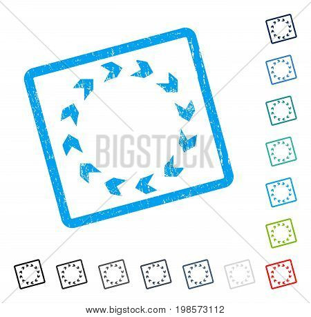 Circulation rubber watermark in some color versions.. Vector pictogram symbol inside rounded rectangular frame with grunge design and scratched texture. Stamp seal illustration, unclean sign.