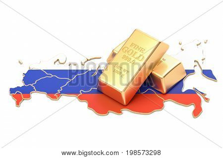 Foreign-exchange reserves of Russia concept 3D rendering isolated on white background