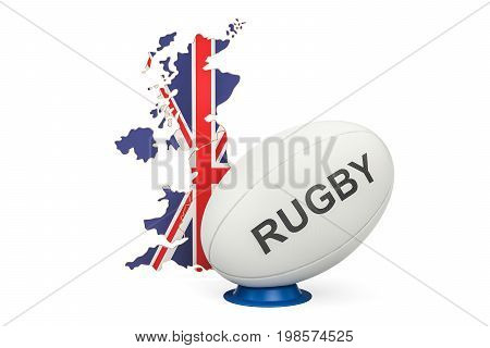 Rugby Ball with map of United Kingdom 3D rendering