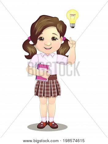 Schoolgirl with finger pointing up idea vector illustration on white background