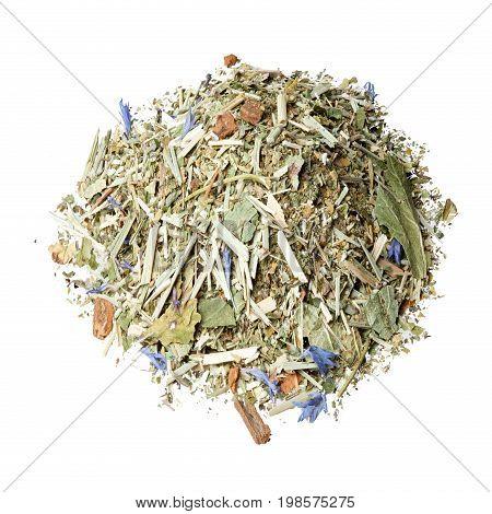 Tea mix of Honeybush, blackberry leaves, lemon grass, fresh mint, cornflower petals and cinnamon.