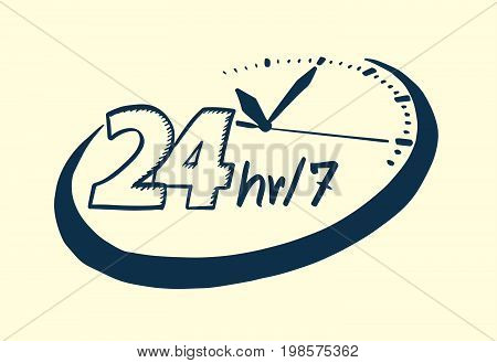 24 Hours 7 Day Clock Drawn Style