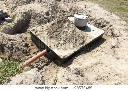 Concrete house septic tank or waste water tank from a detached house