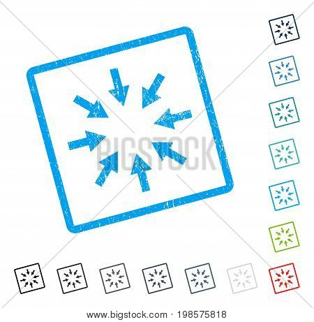 Compact Arrows rubber watermark in some color versions.. Vector icon symbol inside rounded rectangular frame with grunge design and dirty texture. Stamp seal illustration, unclean emblem.