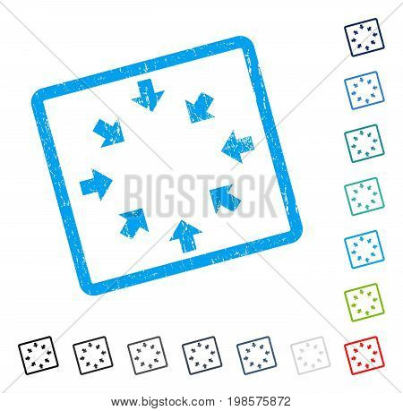 Compact Arrows rubber watermark in some color versions.. Vector icon symbol inside rounded rectangular frame with grunge design and dust texture. Stamp seal illustration, unclean emblem.