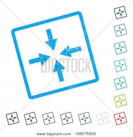 Compress Arrows rubber watermark in some color versions.. Vector icon symbol inside rounded rectangle with grunge design and unclean texture. Stamp seal illustration, unclean sticker.
