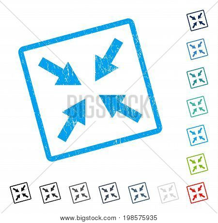 Compress Arrows rubber watermark in some color versions.. Vector pictogram symbol inside rounded rectangle with grunge design and unclean texture. Stamp seal illustration, unclean sign.