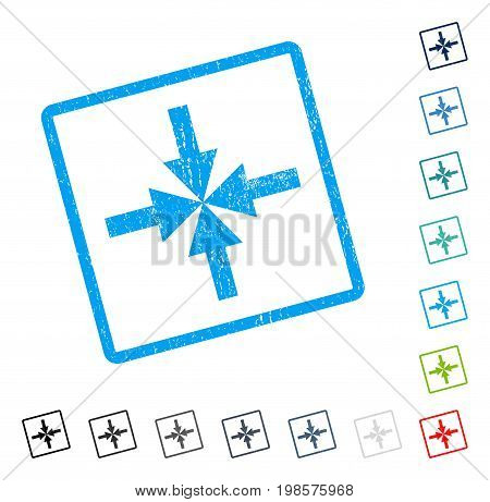 Compress Arrows rubber watermark in some color versions.. Vector icon symbol inside rounded rectangular frame with grunge design and dirty texture. Stamp seal illustration, unclean emblem.