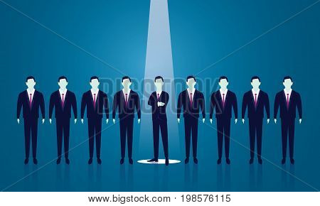 Vector illustration. Business recruitment hiring concept. Selecting businessman promotion career chosen. Focus on one man with spotlight