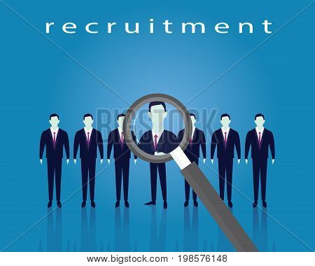 Business Recruitment Concept Selecting Businessman with magnifying glass