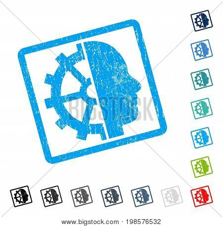 Cyborg Gear rubber watermark in some color versions.. Vector pictogram symbol inside rounded rectangular frame with grunge design and dirty texture. Stamp seal illustration, unclean sticker.