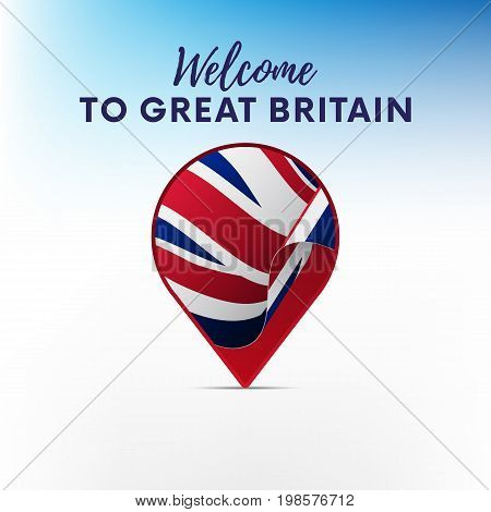 Flag of Great Britain in shape of map pointer or marker. Welcome to Great Britain. Vector illustration.