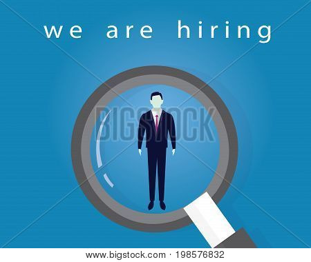 Vector illustration. Business recruitment hiring concept. Selecting businessman. Focus on one man with magnifying glass