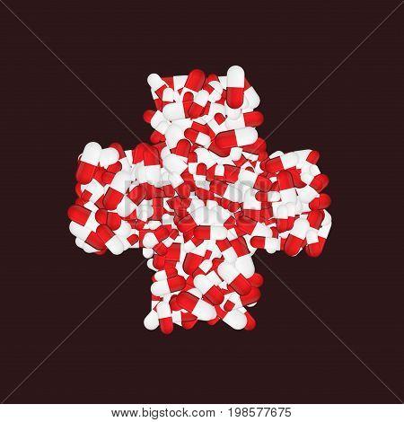 Vector modern medicine pill cross background. eps10