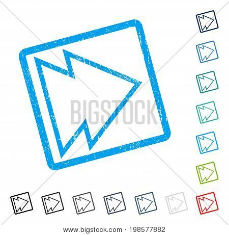 Direction Right rubber watermark in some color versions.. Vector pictogram symbol inside rounded rectangle with grunge design and unclean texture. Stamp seal illustration, unclean sign.