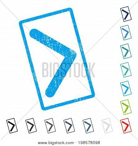 Direction Right rubber watermark in some color versions.. Vector pictogram symbol inside rounded rectangular frame with grunge design and scratched texture. Stamp seal illustration, unclean sign.