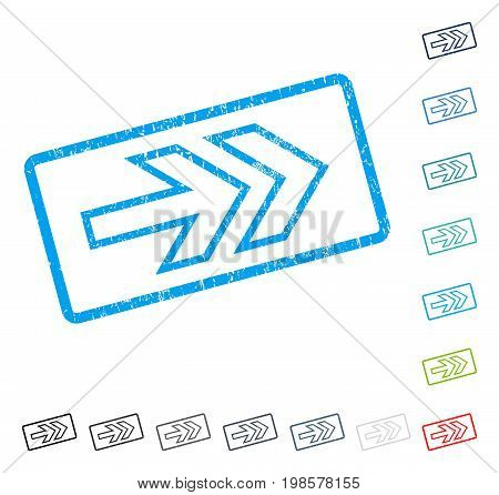 Direction Right rubber watermark in some color versions.. Vector icon symbol inside rounded rectangle with grunge design and dirty texture. Stamp seal illustration, unclean emblem.