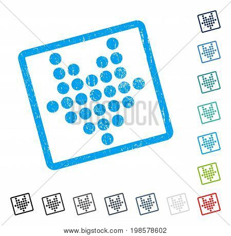 Dotted Arrow Down rubber watermark in some color versions.. Vector pictogram symbol inside rounded rectangle with grunge design and dust texture. Stamp seal illustration, unclean sign.