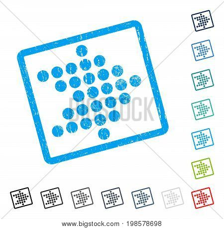 Dotted Arrow Right rubber watermark in some color versions.. Vector icon symbol inside rounded rectangle with grunge design and dust texture. Stamp seal illustration, unclean sticker.