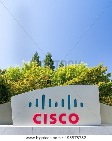 Cisco Corporate headquarters entrance and sign in Silicon Valley, USA.