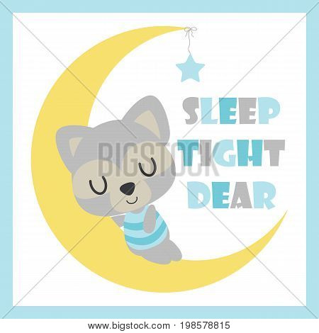 Cute baby raccoon sleeps on the moon vector cartoon illustration for baby shower card design, postcard, and wallpaper