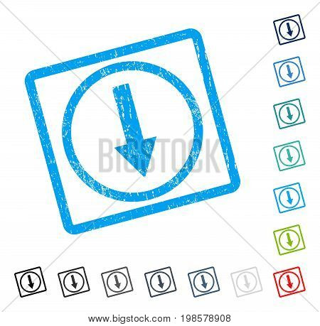 Down Rounded Arrow rubber watermark in some color versions.. Vector pictogram symbol inside rounded rectangle with grunge design and scratched texture. Stamp seal illustration, unclean sign.