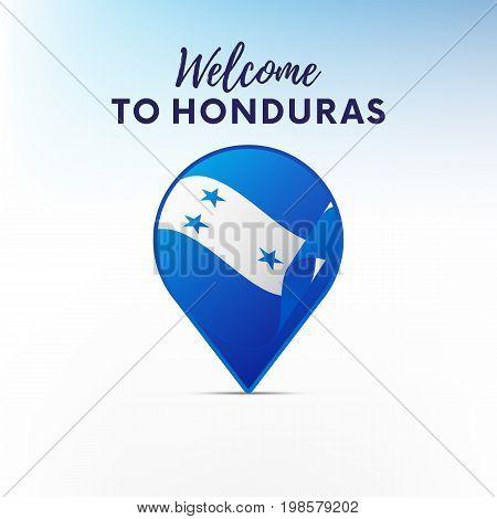 Flag of Honduras in shape of map pointer or marker. Welcome to Honduras. Vector illustration.