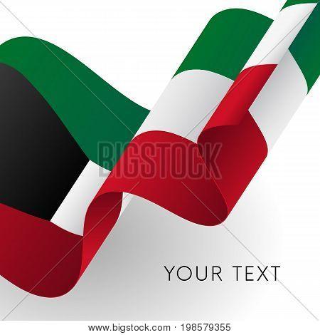 Kuwait flag. Patriotic design. Waving flag. Vector illustration.