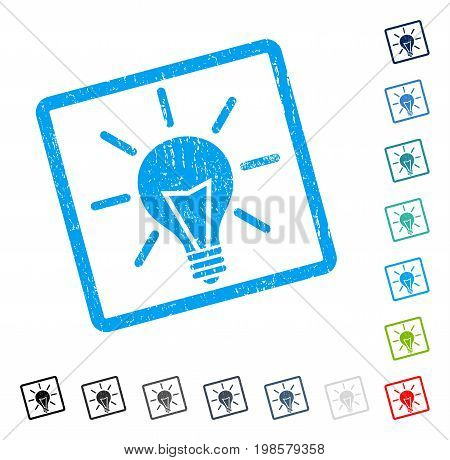 Electric Light rubber watermark in some color versions.. Vector icon symbol inside rounded rectangle with grunge design and scratched texture. Stamp seal illustration, unclean sticker.