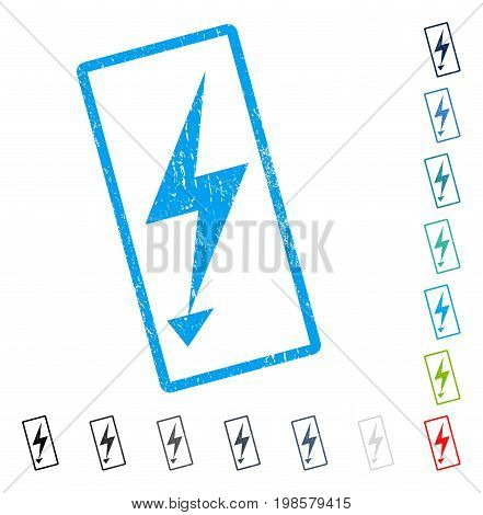 Electric Strike rubber watermark in some color versions.. Vector icon symbol inside rounded rectangle with grunge design and scratched texture. Stamp seal illustration, unclean sign.