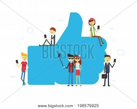 Like concept illustration of young people using mobile tablet and smartphone for sending posts and sharing them in social media. Flat vector hashtag big symbol with guys and women follow the trend
