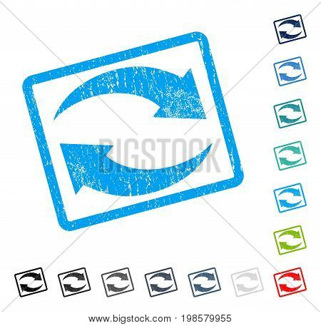 Exchange Arrows rubber watermark in some color versions.. Vector icon symbol inside rounded rectangular frame with grunge design and dirty texture. Stamp seal illustration, unclean sticker.