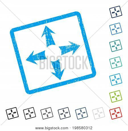 Expand Arrows rubber watermark in some color versions.. Vector icon symbol inside rounded rectangular frame with grunge design and unclean texture. Stamp seal illustration, unclean sticker.