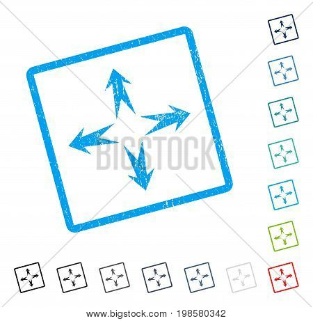 Expand Arrows rubber watermark in some color versions.. Vector pictogram symbol inside rounded rectangular frame with grunge design and scratched texture. Stamp seal illustration, unclean emblem.