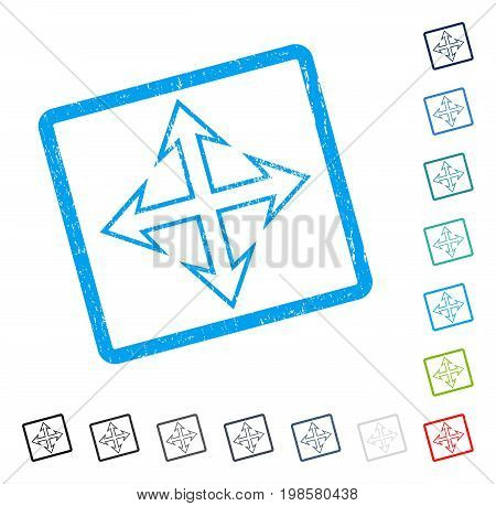 Expand Arrows rubber watermark in some color versions.. Vector icon symbol inside rounded rectangular frame with grunge design and unclean texture. Stamp seal illustration, unclean sign.