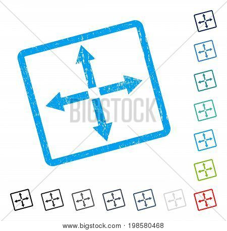 Expand Arrows rubber watermark in some color versions.. Vector icon symbol inside rounded rectangle with grunge design and dirty texture. Stamp seal illustration, unclean emblem.