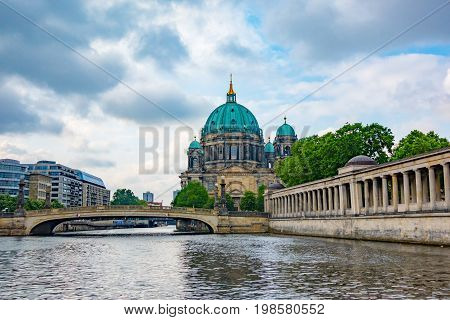 Museum Island with Berlin Cathedral, Germany, early in the morning with clouds in the sky