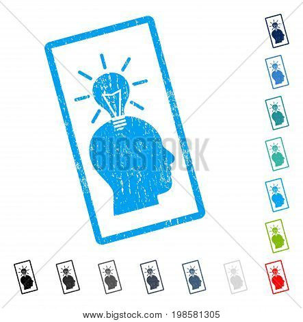 Genius Bulb rubber watermark in some color versions.. Vector pictogram symbol inside rounded rectangular frame with grunge design and unclean texture. Stamp seal illustration, unclean sticker.