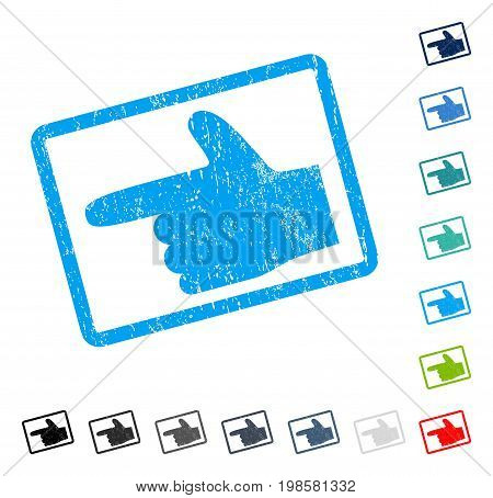 Hand Pointer Left rubber watermark in some color versions.. Vector pictogram symbol inside rounded rectangular frame with grunge design and dirty texture. Stamp seal illustration, unclean sticker.