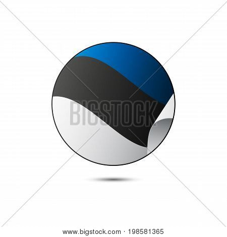 Estonia flag button with shadow on a white background. Vector illustration.