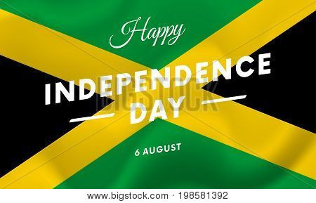 Jamaica Independence Day. 6 august. Waving flag. Vector illustration.
