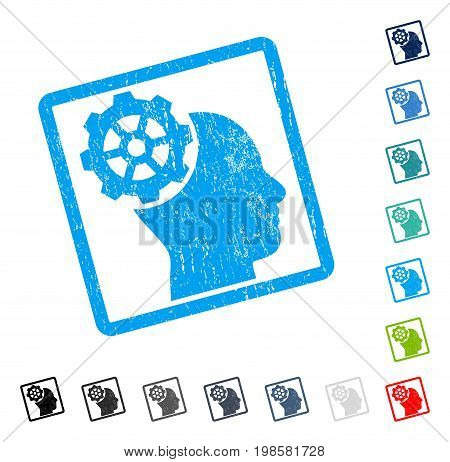 Head Gear rubber watermark in some color versions.. Vector pictogram symbol inside rounded rectangle with grunge design and unclean texture. Stamp seal illustration, unclean sticker.