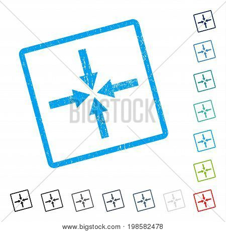 Impact Arrows rubber watermark in some color versions.. Vector pictogram symbol inside rounded rectangular frame with grunge design and dirty texture. Stamp seal illustration, unclean sticker.
