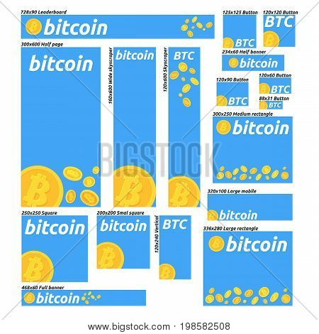 Flat design banner concepts for bitcoin finance market and financia news consulting m-banking online investing. Concepts for web banners and promotional materials.