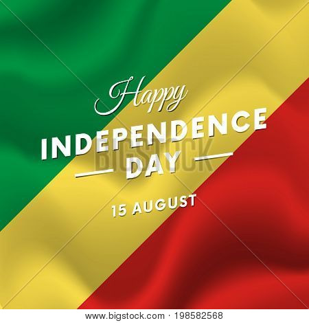 Republic of the Congo Independence Day. 15 august. Waving flag. Vector illustration.