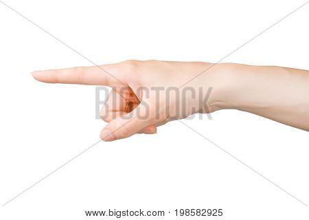 Pointing finger. Woman hand showing pointing or touching something. Isolated on white clipping path included