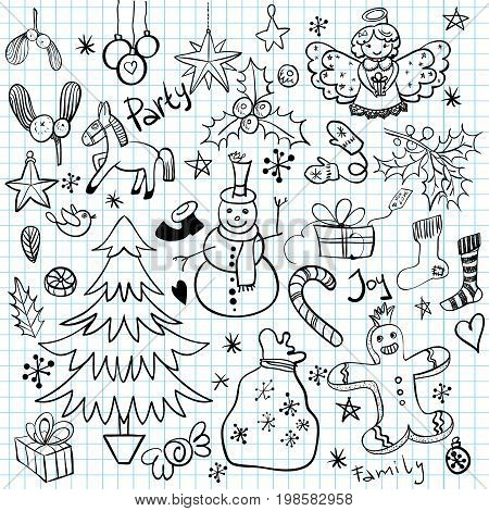 Set of Christmas and Winter Holiday linear Doodles