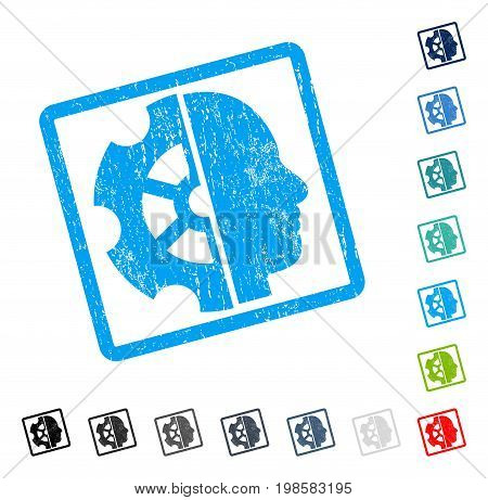 Intellect rubber watermark in some color versions.. Vector icon symbol inside rounded rectangular frame with grunge design and scratched texture. Stamp seal illustration, unclean sign.